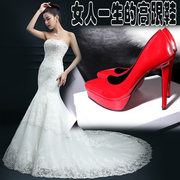The new super sexy female high-heeled shoes leather high heels with a fine waterproof nude color 12cm red wedding shoes