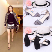 2017 new word strap sandals in the summer with the Korean female all-match Rome female fashion shoes high-heeled shoes