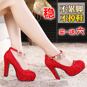 Female wedding shoes winter red high-heeled shoes with red wedding bride lace strap shoes with thick waterproof shoes.