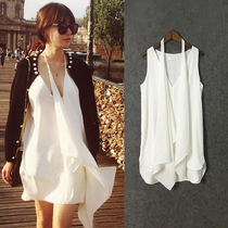Choke a little chilli and dress the 2016 summer vacation vest Beach white slim skirt dress