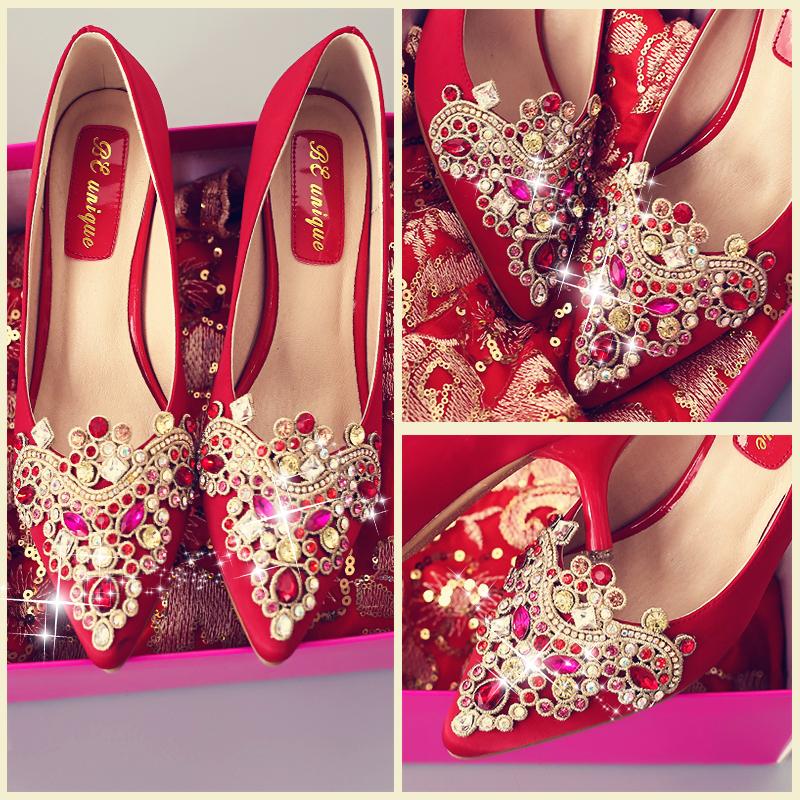 婚鞋女冬季2017新款红色高跟鞋细跟结婚礼韩版秀禾鞋敬酒新娘鞋子