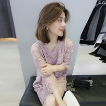 European station summer women's 2018 new European goods tide fashion Korean loose straight pink lace dress