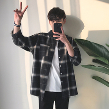 ins Plaid shirt jacket men's shirt long-sleeved Korean version of the spring and summer summer art Hong Kong wind Harajuku casual
