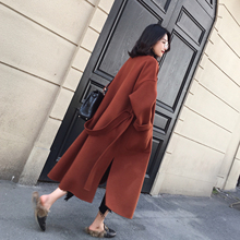 The ANNA - the new red maple leaf in winter coat double profile long wool woolen coat loose woman