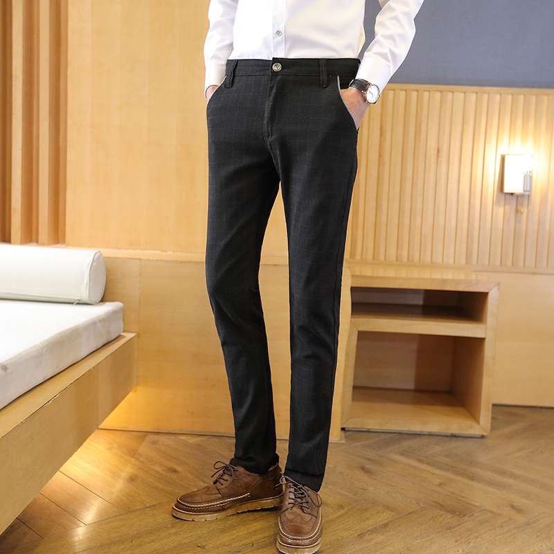 Summer lane and workplace thin black plaid pants with male han edition cultivate one's morality leisure pants men's trousers youth business feet pants