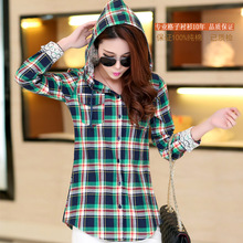 2017 spring and autumn Korean hooded slim Plaid Shirt ladies dress with cap sleeved shirt coat primer sanding