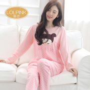 Autumn autumn spring cotton long sleeved pajamas lady Korean loose in autumn and winter cotton quality Home Furnishing suit in autumn