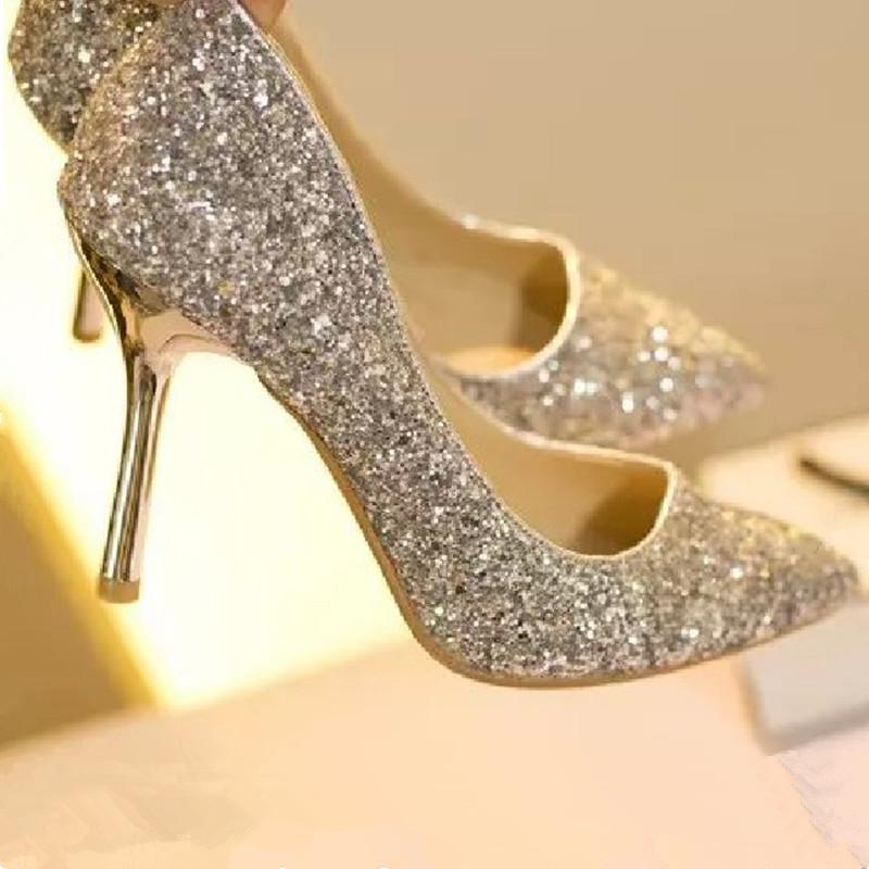 婚礼银色尖头高跟鞋亮片婚鞋渐变色细跟单鞋女金色伴娘鞋年会宴会