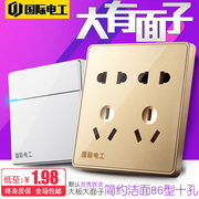 International Electrical champagne gold switch socket panel type 86 home package 5 five hole 100 hole power plug two or three