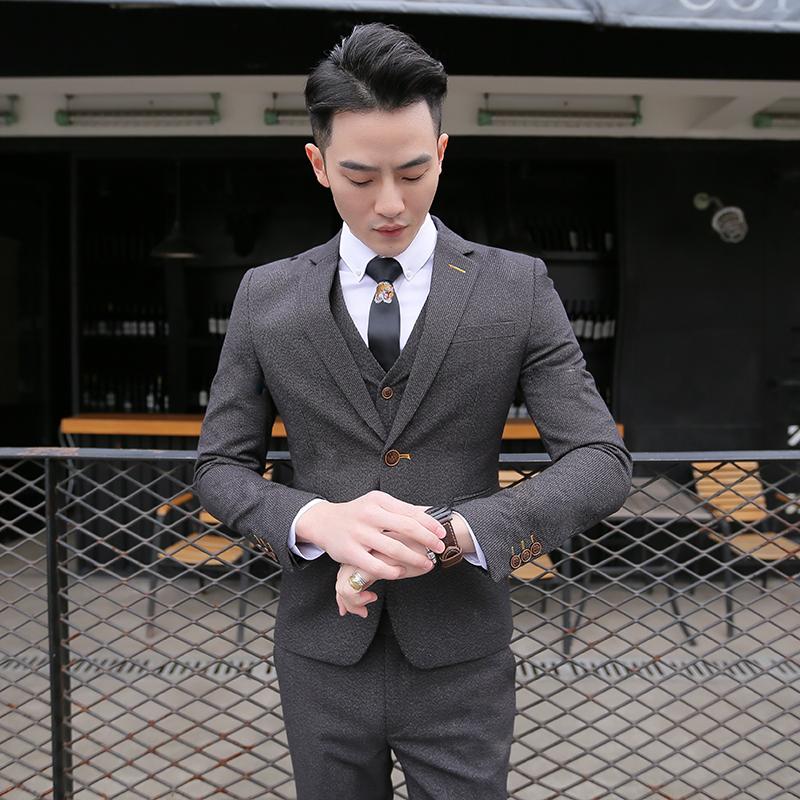 西服套装男士三件套四季韩版修身小西装职业正装伴郎新郎结婚礼服