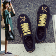 Black canvas shoes shoes female 2017 new autumn and winter winter shoes all-match ulzzang wind source of students.