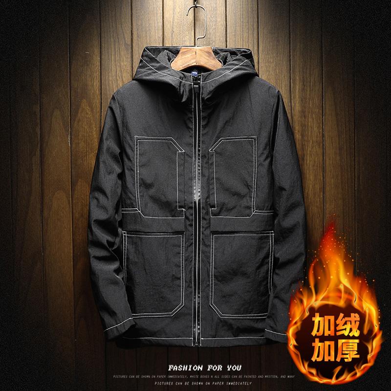外套男夹克秋冬季2017新款加绒加厚韩版潮流修身帅气风衣个性衣服