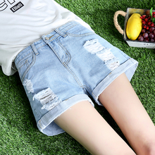 Denim shorts female summer 2018 new Korean version of loose students wild chic high waist wide leg curling hole hot pants
