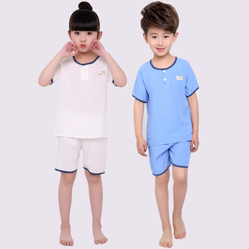 The new summer children suit short sleeved cotton silk pajamas Home Furnishing suit bourette air conditioning suit thin baby and children's clothing