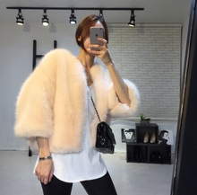 Seeubaby Korea CHIC pure wool imitation fur short cardigan coat