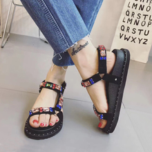2018 Summer New Velcro Rome Rhinestone sandals Thick-soled platform shoes Korean Wild Student Flat shoes