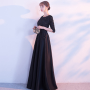 Black dress woman 2017 new autumn and winter in Korean dress sleeve thin Toastmaster dress