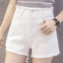 White denim shorts female summer 2018 new hole loose thin Korean students wide leg hot pants ins super fire
