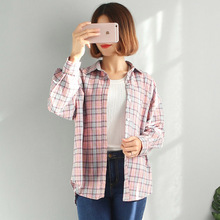The fall of 2017 female students all-match long sleeved shirt loose Korean art fresh lattice blouse