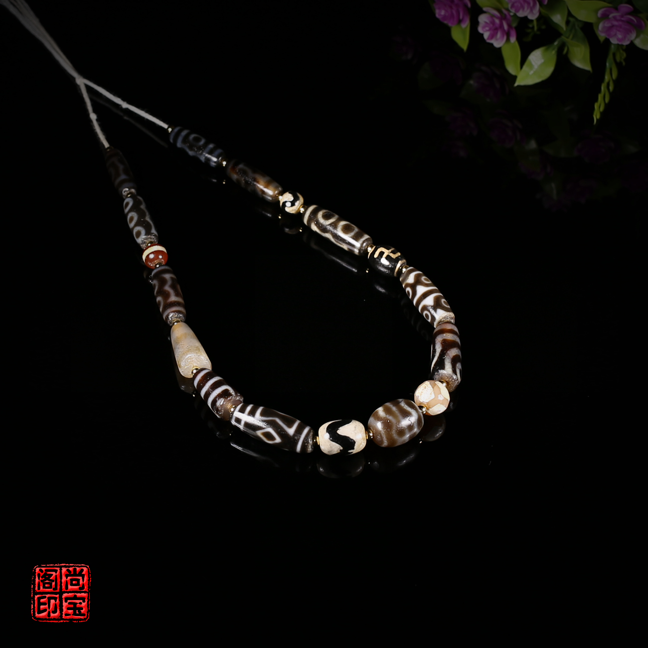 e01767= Tibetan-coated pulp weathered multi-precious hand string beads bead with beads; A string of West Asian beads