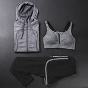 Yoga suit three sets of fitness running suit sportswear suit female spring and summer shock bra fast drying pants long sleeved coat