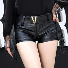 2017 new winter fringed leather pants Pu panties female super skinny skinny pants waist sexy boots pants tide leather shorts