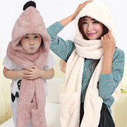 Autumn and winter thick warm children Plush ear hat scarf gloves three suit one
