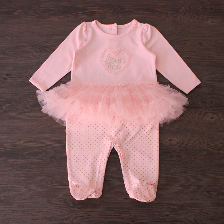 3-6M/ super Xian single newborn baby 100 day Princess female baby Onesies Kazakhstan gauze group and long climb clothes