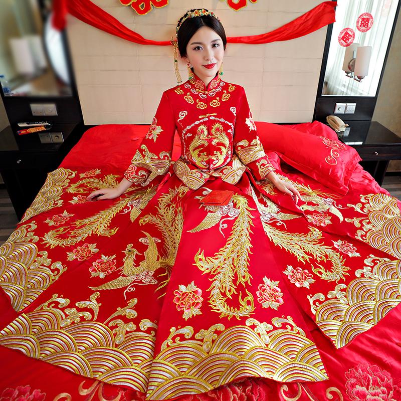 新娘中式婚纱新款秀禾服复古旗袍礼服龙凤褂秀和服结婚孕妇敬酒服