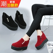The wind in the fall of 2017 new women all-match plus velvet shoes female thick soled shoes set foot platform