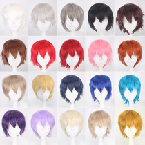 Small hair hair 30CM hair with spring collection face black multicolor silver cosplay wig