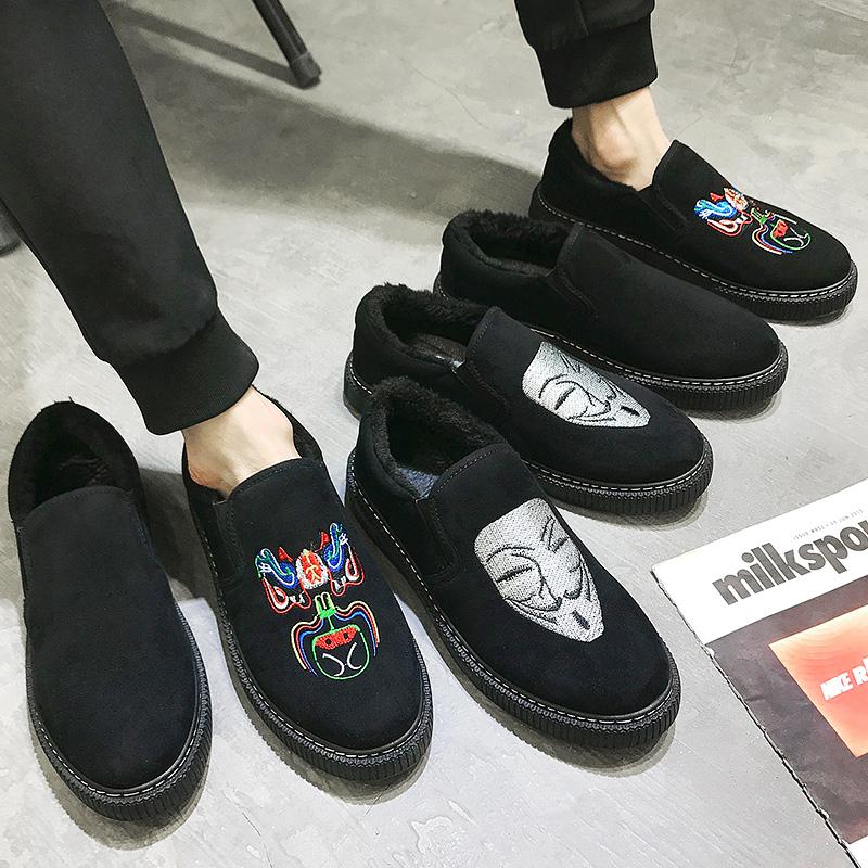 棉鞋男冬季保暖加绒加厚一脚蹬学生韩版百搭懒人鞋青年休闲男鞋子
