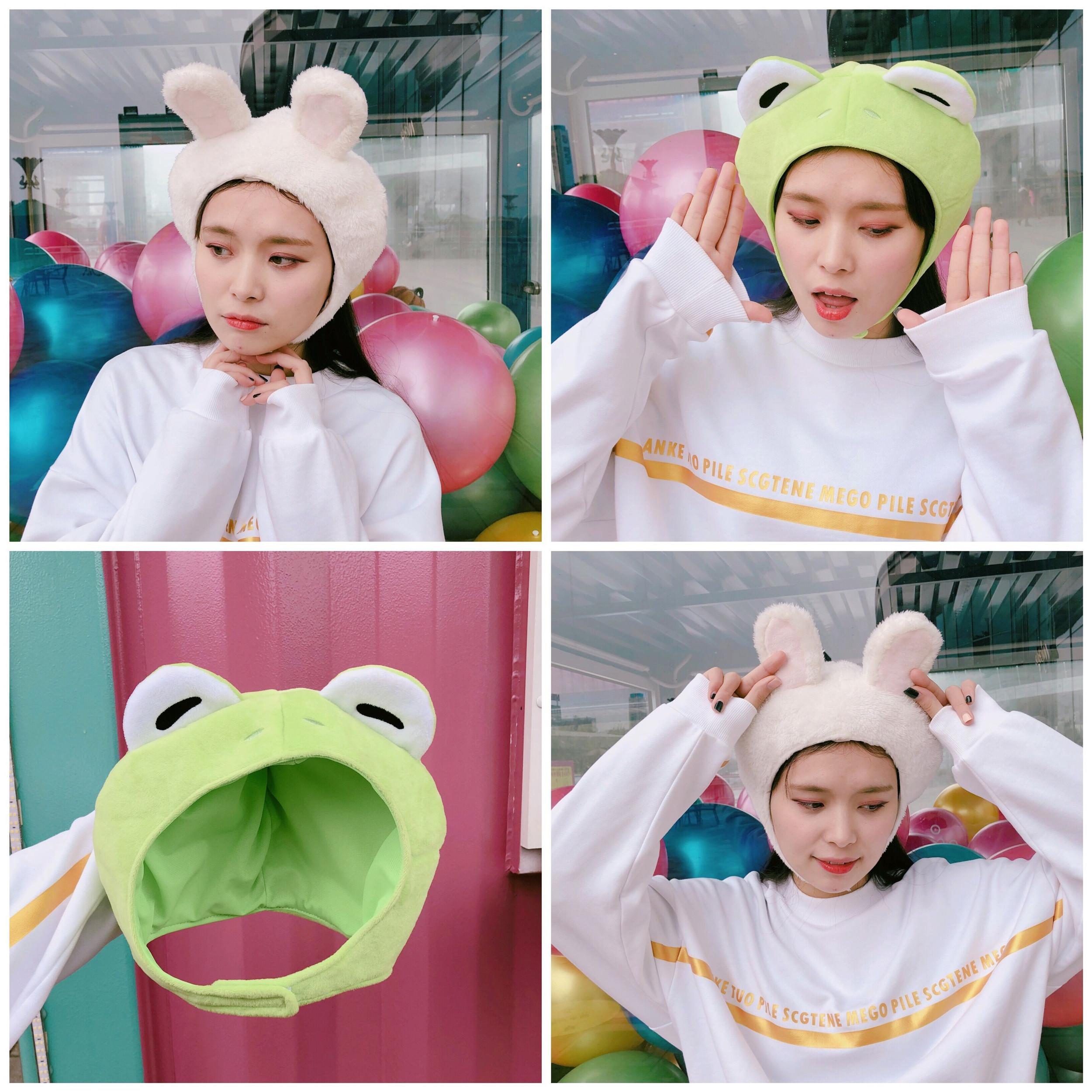 韩国少女心毛绒绒动物耳朵兔子头套帽子青蛙卡通可爱拍照道具