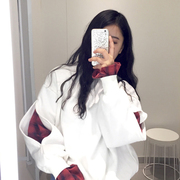 South Korea ulzzang autumn BF head thickening loose students Harajuku false two women plus cashmere sweater stitching