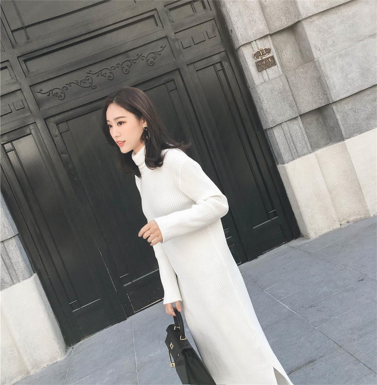 长款过膝毛衣裙2017韩版新款秋冬打底裙包臀高领针织连衣裙修身