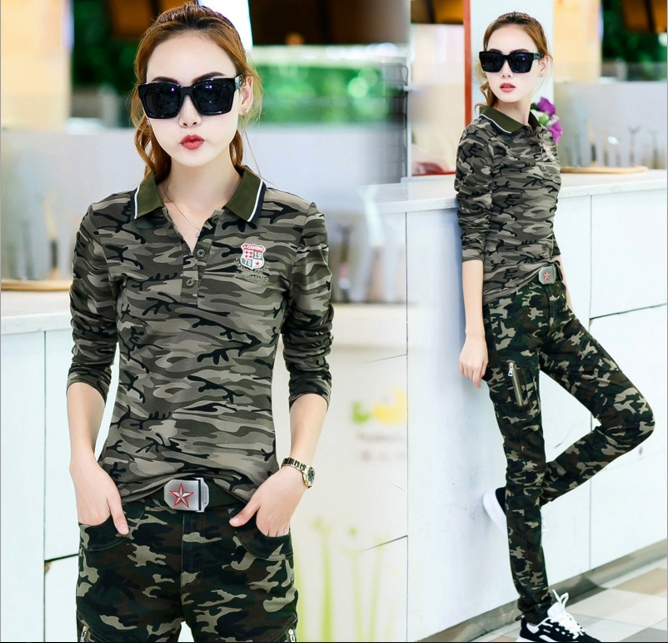 2017 new slim lady sweater two piece suit fashion movement camouflage trousers T-shirt lapel
