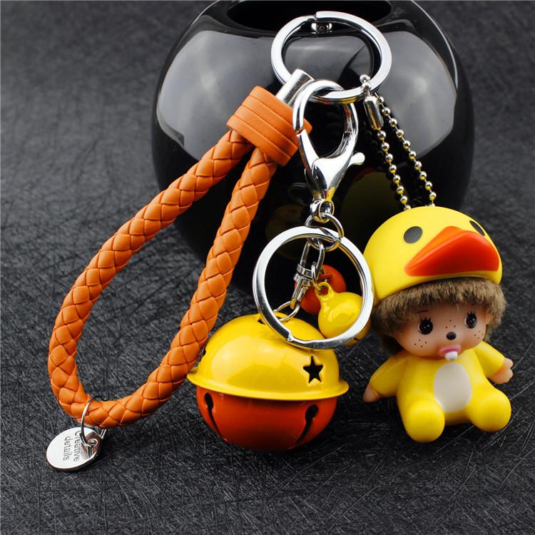 超萌可爱卡通蒙奇奇公仔迷你汽车钥匙链手机挂件挂饰情侣钥匙链