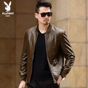 Playboy leather, men's leather jacket, sheep skin, youth, thin age, slim men's leather jacket, men's clothing tide