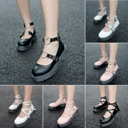 Retro Sen female line round thick bottom line wind muffin doll shoes shoes and small leather shoes, Baotou