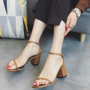 Korean female temperament high-heeled sandals in summer 2017 new students all-match toeless word buckle thick with Rome shoes tide