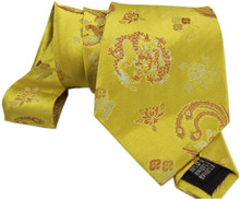 China features golden yellow splendid and elegant men tie silk tie silk tie Fengwu male dragon