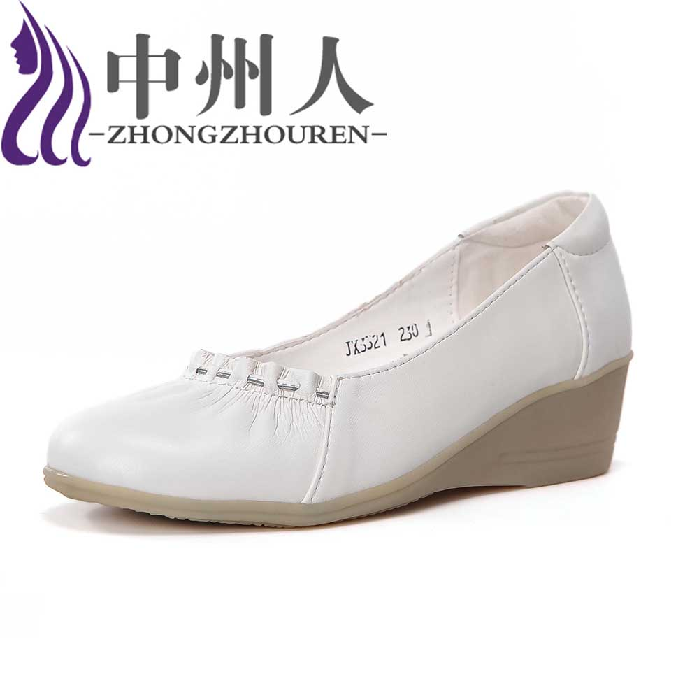 Shoes mother shoes Spring xia Zhongzhou white nurse shoes white slope with shoes shoes tendon bottom middle-aged woman