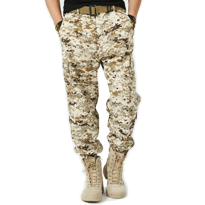 Packages mailed army fans outside during the spring and autumn overalls more loose combat pants pocket Male tactical pants desert camouflage pants
