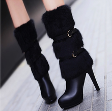 2017 new winter boots leather high-heeled boots and fur boots Martin stiletto boots fashion women shoes