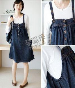Han pregnant women denim skirt Maternity clothes the spring and autumn period and the han edition fashionable braces skirt/foreign trade, single / 1-9060