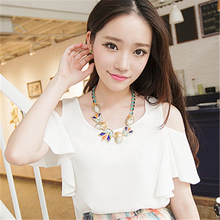 2016 Korea summer new Feifei Sleeve Chiffon Blouse Strapless Chiffon shirt frill double short sleeved T-shirt for women