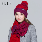 ELLE hat scarf two piece female winter warm wool hat, knitted hat scarf all-match leisure Suite