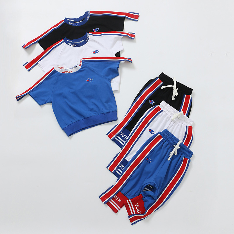 The boy set two sets of short sleeved summer children kids wear jeans 2017 new sport pants