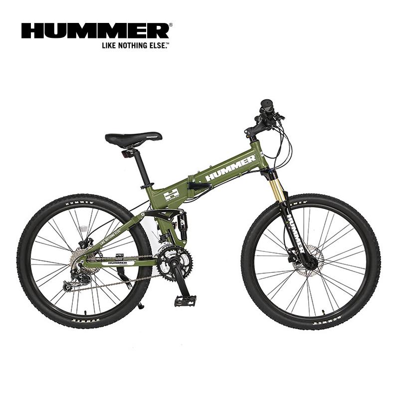 HUMMER悍马折叠自行车26寸双碟刹山地车全避震27速变速山地自行车