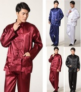 Special Chinese men Wushu _ restaurant Kung-Fu suits in China in mourning clothes with long sleeves in winter in summer and autumn wine red PR003